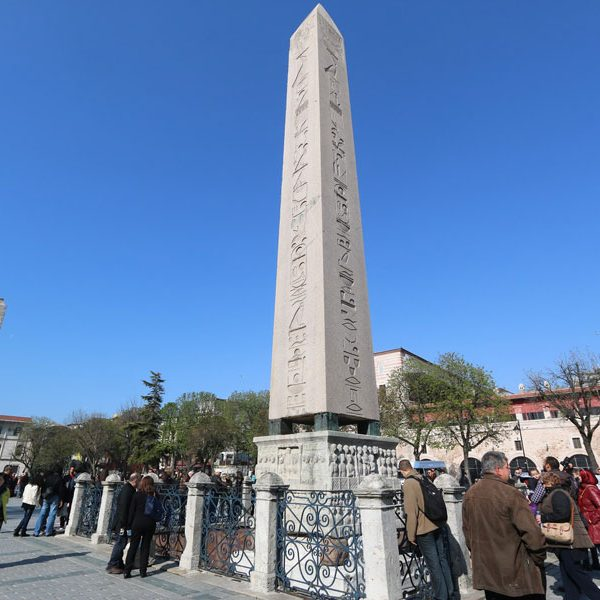 Istanbul Obelisk-of-Thutmose-III-(front)-and-Walled-Obelisk-(back)-at-Hippodrome-of-Constantinople-in-Istanbul,-Turkey